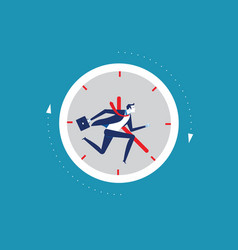 businessman running away in clock concept vector image