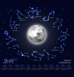 Calendar moon zodiac constellations 2019 night vector