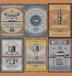 car service repair retro posters vector image
