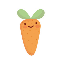 carrot vegetable fresh cartoon food cute line and vector image
