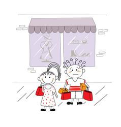 cartoon couple shopping vector image