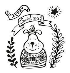 Christmas greeting card with dog vector
