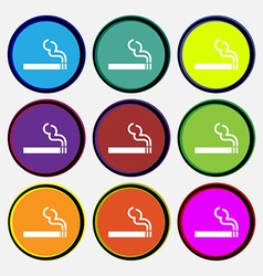 Cigarette smoke icon sign Nine multi colored round vector