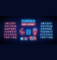cinema and alphabet neon sign set glowing neon vector image