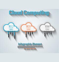cloud computing flat style orange vector image