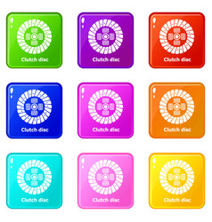 Clutch disc icons set 9 color collection vector