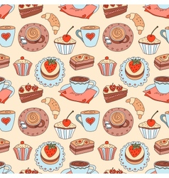 Coffee seamless cartoon pattern vector image