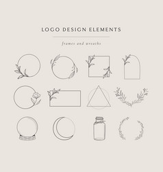 Collection hand drawn logo element frames vector
