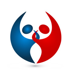 Couple partnership bond logo vector