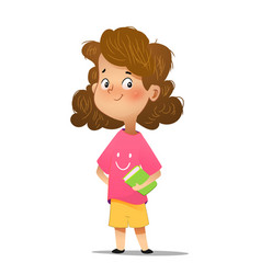 cute girl holding book vector image