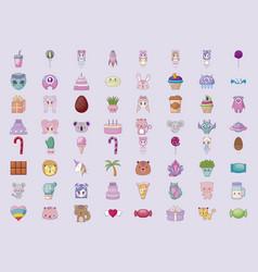 Cute set icons style kawaii vector