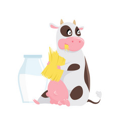 cute spotted cow eating grass funny farm animal vector image