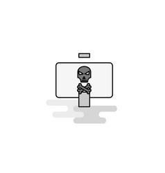 Danger board web icon flat line filled gray icon vector