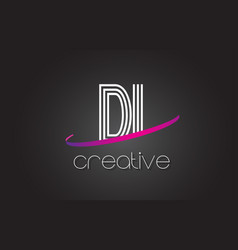 Di d i letter logo with lines design and purple vector