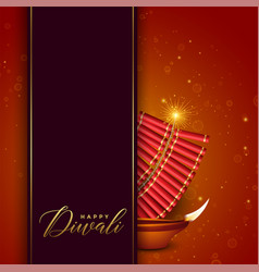 Diwali festival design with cracker and diya vector