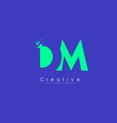 dm letter logo design with negative space concept vector image