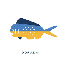 Dorado sea fish geometric flat style design vector