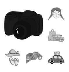 family holiday monochrome icons in set collection vector image