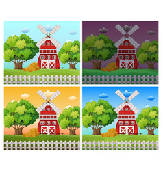 farm scenes at different time of day vector image