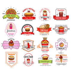 Fast food restaurant cafe and pizzeria badge vector