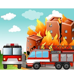 Fire trucks at the fire scene vector image