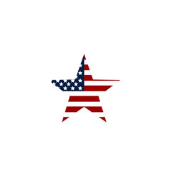 flag usa icon american symbol star with flag usa vector image