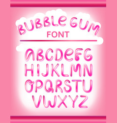 font set with full alphabet glossy pink paint vector image