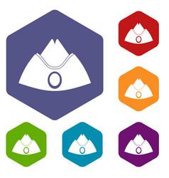 Forage cap icons set hexagon vector