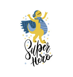 funny dinosaur in superhero costume and mask vector image
