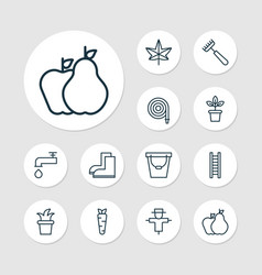 gardening icons set with leaf fruits hose and vector image