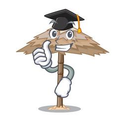 Graduation character tropical sand beach shelter vector