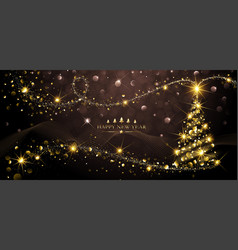 greeting card golden christmas tree vector image