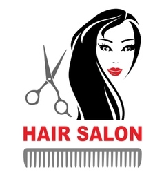 hair salon icon with girl and scissors vector image