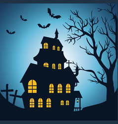 Happy halloween card with enchanted castle vector