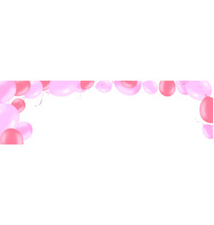 Horizontal banner with pink rose helium balloons vector