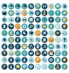 Icons flat line all technology vector