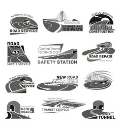 icons of safety road construction service vector image