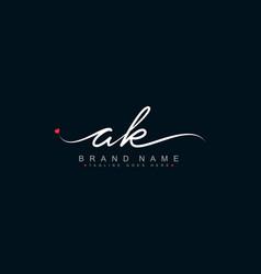Initial letter ak logo - handwritten signature vector
