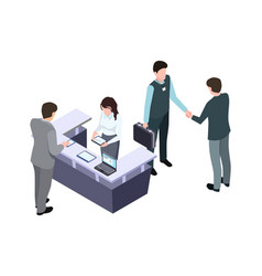 isometric administrator woman talk with man vector image