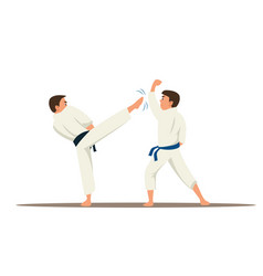 Karate fighters flat characters vector
