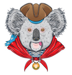 koala with pirate hat vector image