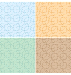 Light seamless textures with curly elements - set vector