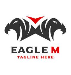 Logo 2 eagle head initials m vector
