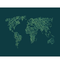 Map of world network continents of planet earth vector