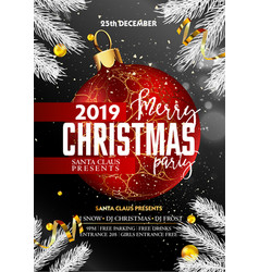 merry christmas party promotional poster with vector image
