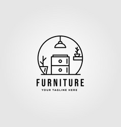 Minimalist furniture logo design line art vector