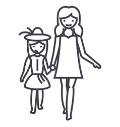 mother with daughter on vacation line icon vector image