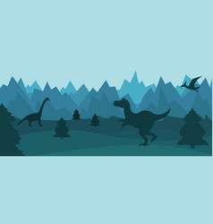 mountain landscape with silhouettes of dinosaurs vector image