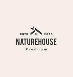 nature house home leaf hipster vintage logo icon vector image