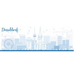 outline dusseldorf skyline with blue buildings vector image